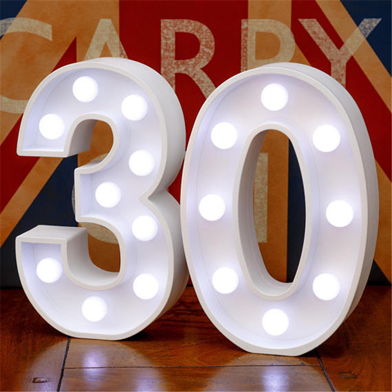 Image 5 - Chicinlife 2Pcs 18/30/40 Numbers LED String Night Light Birthday Party Standing Hanging Adult Party Anniversary Decor SuppliesParty DIY Decorations   -