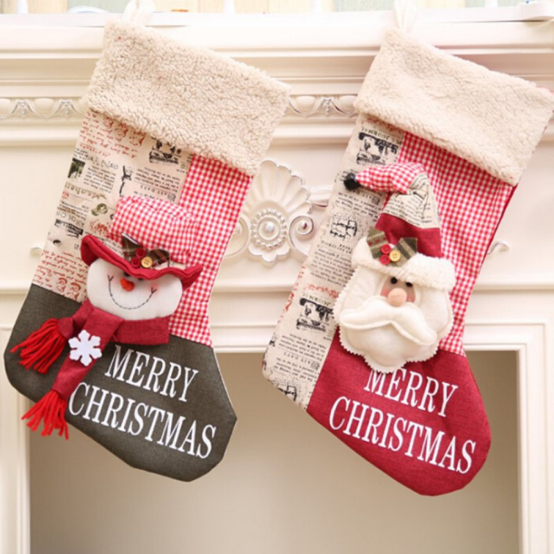Stocking Decoration Clothes Santa Socks Christmas Gift For New Year Candy Gift Bags For Kids