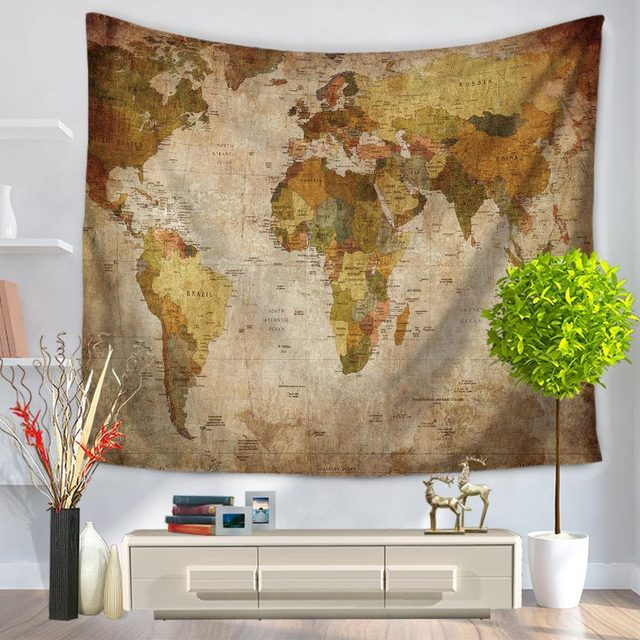 Charmhome world map pattern tapestry hanging polyester fabric wall charmhome world map pattern tapestry hanging polyester fabric wall decor vintage retro style blanket beach toweltapestries gumiabroncs Image collections