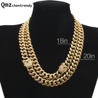 Hip hop Copper Curb Cuban Mens Chain Necklaces Iced Out CZ Miami Golden Necklace With Luxury Box Dargon Clasp Drop Shipping