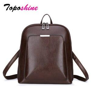 Image 1 - Toposhine Vintage sırt çantası kadın deri kadın sırt çantası büyük kapasiteli okul kızlar çanta eğlence omuz çantaları kadınlar için 2020