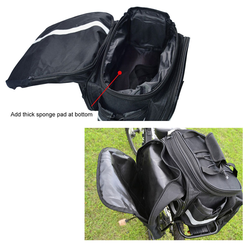 WEST BIKING Cycling Rear Rack Bag 10-25L Volume Waterproof Riding Bicycle Rear Rack Storage Luggage Bags Reflective MTB Bike Bag