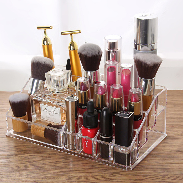 Clear Acrylic Makup Organizer Lipstick Brush Drawer Trapezoid Lotion Make  Up Cosmetic Tool Kit Holder Home