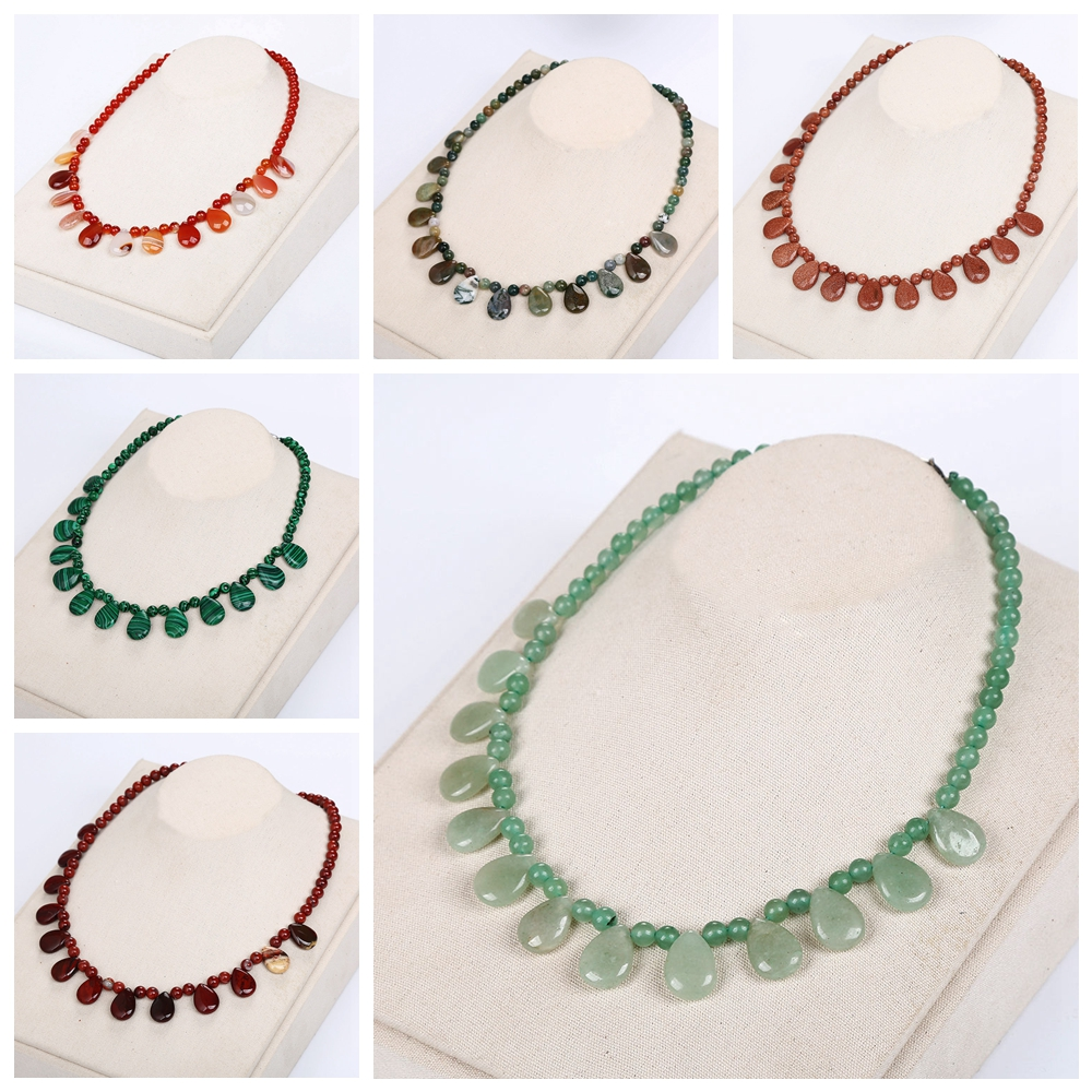 Beads Natural Stone Necklaces Tassel Women Short Necklace Chain Men Statement Jewelry Boho Maxi Necklaces Agate Amber Jade Gifts