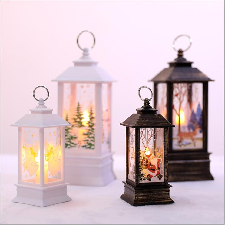 Christmas Gifts  White Snowman Santa Claus Fire Flame Lamp Christmas Decoration LED Lantern Oil Lamp