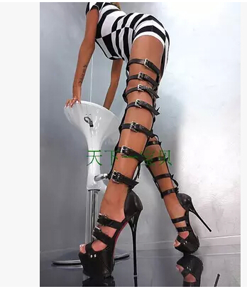 Fashion thick platform women thin heeled strappy cut-outs over the knee sandal boots high heel buckle gladiator boots sandals patent leather knee high fashion women boots buckle strap cool motorcycle boots thin high heels cut outs sandals boots shoes