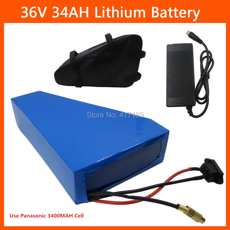 Free customs duty 36V Triangle battery 36V 34AH bicycle battery 36V Lithium ion battery Use Panasonic 3400mah cell 3A charger