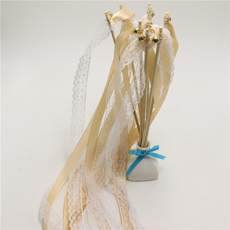 50pcs of champagne white lace wedding ribbon wands wedding for Wedding wands