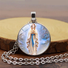 3pcs/lots Virgin Mary Retro Glass Alloy Pendant Necklace Sweater Chain Religious Jewelry Wholesale 5 Styles 3 color  T-7