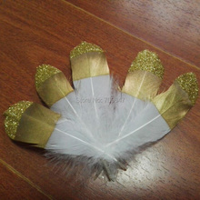 Natural White Goose Nagorie feathers with Gold dipped Painting,real goose feathers with top glittered 12-18cm 50pcs/lot цена