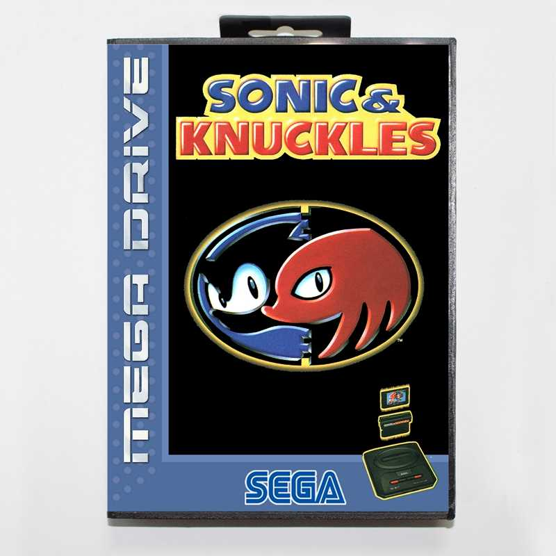 Sega MD games card - Sonic & Knuckles with box for Sega MegaDrive Video Game Console 16 bit MD card
