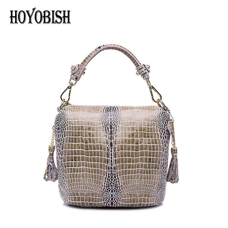 HOYOBISH Luxury Serpentine Handbags Genuine Leather Women Shoulder Bags Bucket Bag For Lady Famous Designer Crossbody Bags OH071 genuine leather women bag fashion designer handbags luxury quality lady shoulder crossbody bags women messenger bag black pink