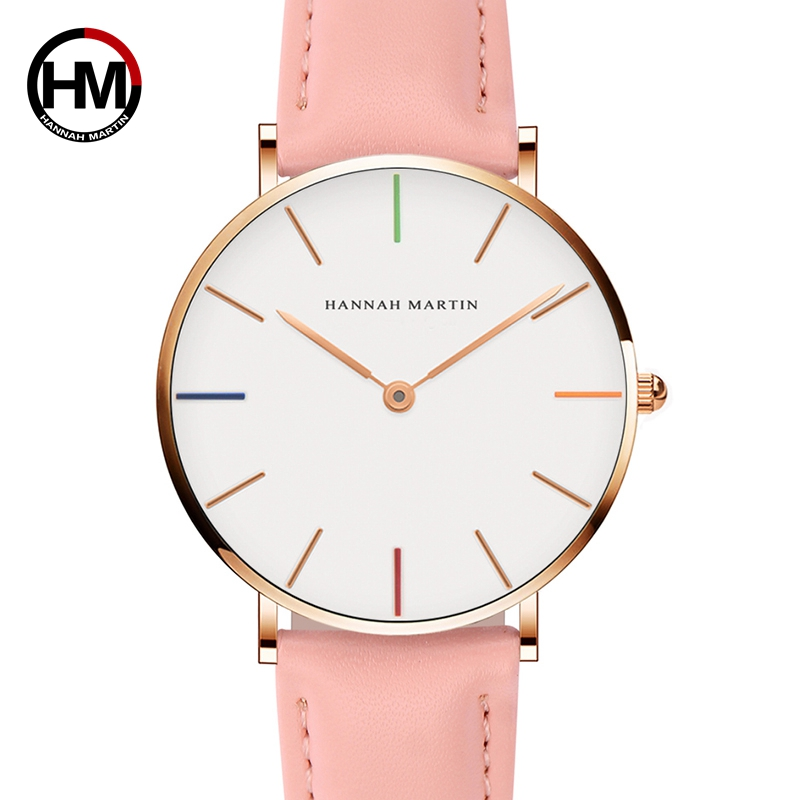 Japan Quartz Movement Ladies Watch Fashion Casual Women Top Brand Pink Genuine Leather Strap Simple Waterproof Wristwatch 36mm