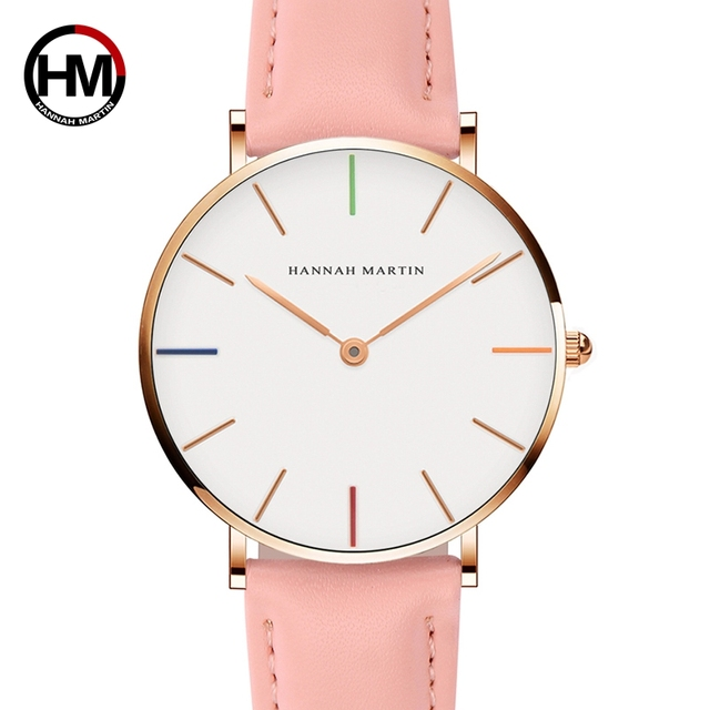 Japan Quartz Movement Ladies Watch Fashion Casual Women Top Brand Pink Genuine L