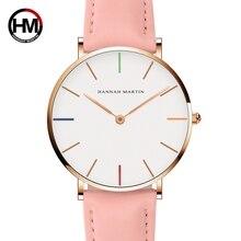 Японский кварцевый механизм женские часы моды Повседневное Для женщин лучший бренд розовый Пояса из натуральной кожи ремень Простой Водонепроницаемый часы наручные 36 мм