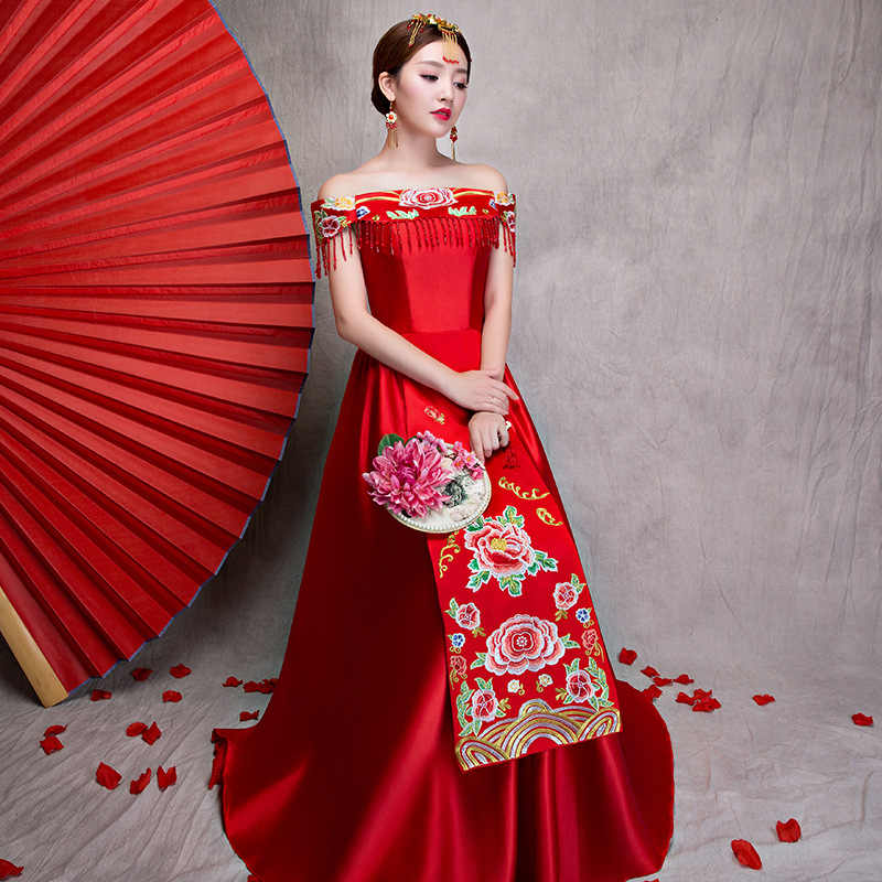 赤刺繍ロングチャイナドレス片方の肩のウェディング袍中国の伝統的な東洋のスタイルドレス女性 Vestido チーパオ
