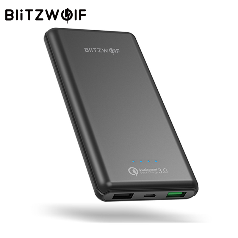 BlitzWolf 10000 mAh QC3.0 Energienbank Dual USB Ladegerät 18 Watt Polymer schnelle Ladegerät Powerbank Externe Batterie Für iPhone X 8 7