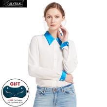 LILYSILK 18mm Relaxed Color Block Silk Shirts 100 charmeuse silk collar cuff Relaxed Fit NEWS Free