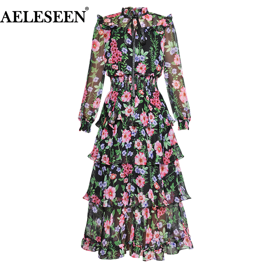 AELESEEN Fashion Designer Summer Holiday Dress Women's Lantern Sleeve Ruffles Vintage Floral Print Cascading Bow Elegant Dress-in Dresses from Women's Clothing    1
