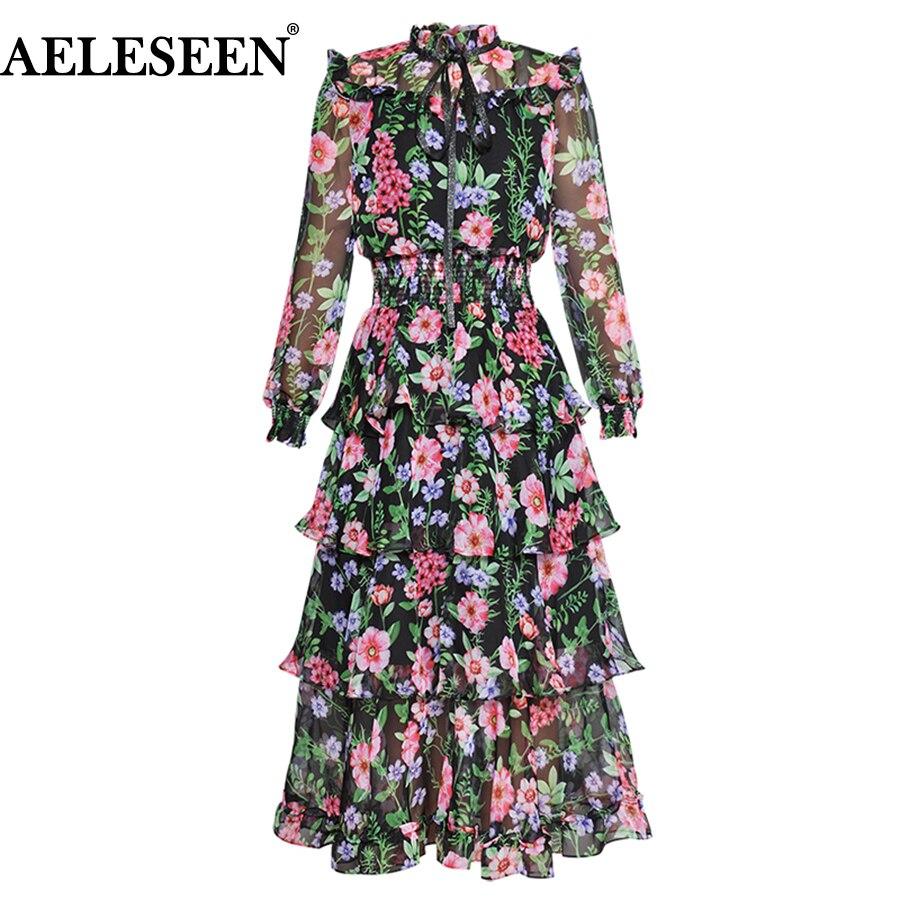 AELESEEN แฟชั่นฤดูร้อนวันหยุดผู้หญิงโคมไฟแขนเสื้อ Ruffles Vintage พิมพ์ดอกไม้ Cascading Bow Elegant ชุด-ใน ชุดเดรส จาก เสื้อผ้าสตรี บน   1