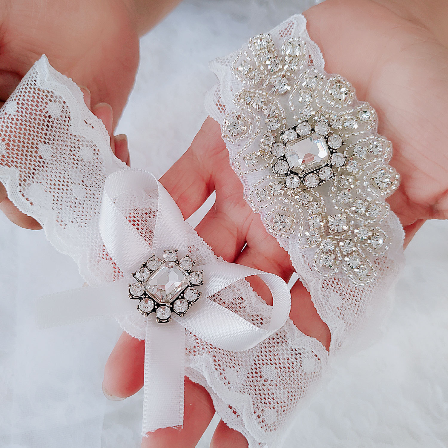 Kyunovia Crystal and Pearl Garter Bridal Garter Vintage Rhinestones bridal garter Lace Wedding Garter Set  D99