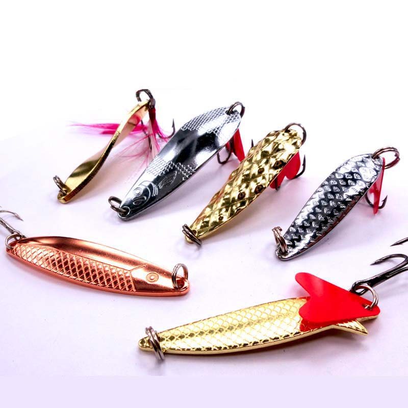 1pc Spinner Bait Metal Spoon Fishing Lures 5g/10g With Swivel Treble Hook Fly Material Kosadaka Wobbler FU218 wldslure 1pc 54g minnow sea fishing crankbait bass hard bait tuna lures wobbler trolling lure treble hook
