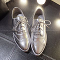 2015 Oxford Zapatos de Mujer Con Cordones de Oxford Casual Zapatos Oxford de Cuero Genuino Para Las Mujeres Negro Blanco de Plata de Tenis femenino
