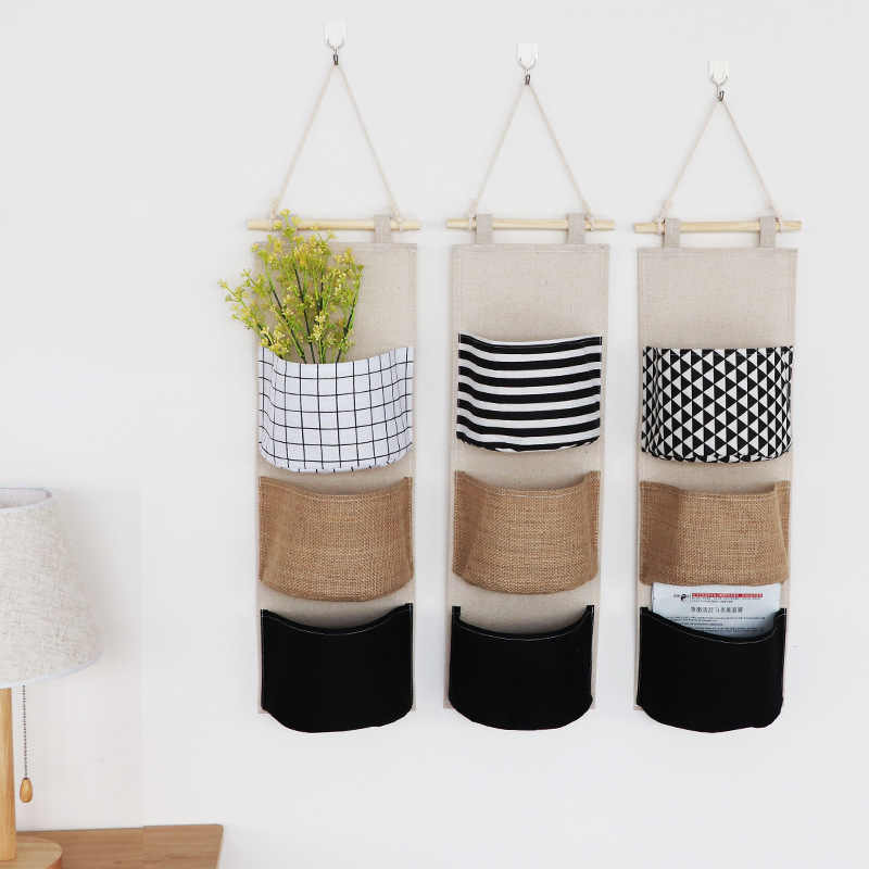 Wall Mounted Home Space-saving Hanging Geometric Organizer Sundries Holder Storage Bags