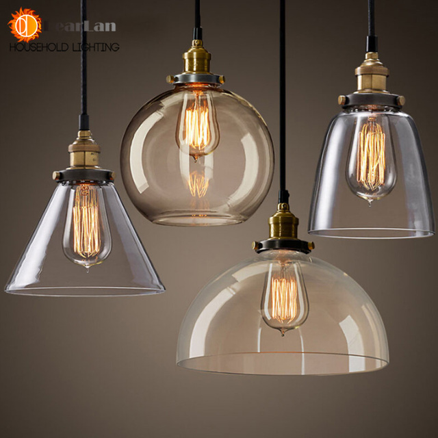 Vintage American Glass Pendant Lamp E27 Lamp Holder 110-240V Foyer/Coffee House/Bar/Shop Indoor Pendant Lights Free Shipping