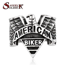 Steel soldier American biker eagle ring stainless steel fashion personality navy signet men jewelry BR8-206