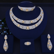 GODKI Luxury Double Layers Nigerian Bridal Jewelry Sets For Women Cubic Zirconia Crystal CZ Dubai Indian Gold  jewelry Sets 2018