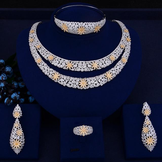 GODKI Luxury Double Layers Nigerian Bridal Jewelry Sets For Women Cubic Zirconia Crystal CZ Dubai Indian Gold  jewelry Sets 2018
