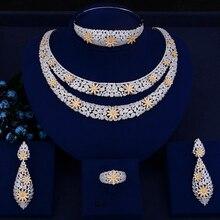 GODKI lüks çift katmanlar nijeryalı gelin takı setleri kadınlar için kübik zirkonya kristal CZ Dubai hint altın takı setleri 2018