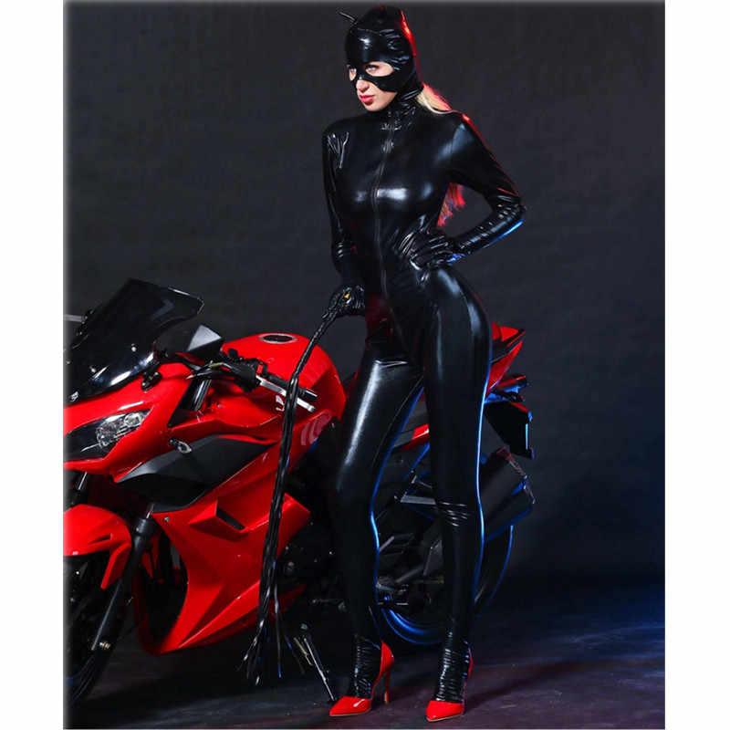 Lateks Catsuit Faux Deri Kedi Kadın Tulum wetlook Streç PVC Bodysuit Iç Çamaşırı eşcinsel fetiş Kostüm vücut seksi sıcak erotik takım elbise