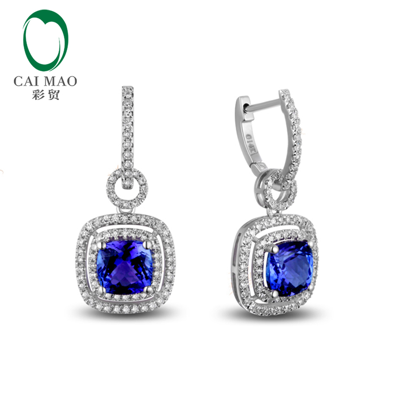 14k Gold 3 39ct AAA Violetish Blue Tanzanite Diamond Engagement Earrings