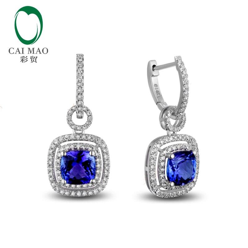 14k White Gold 2.19ct AAA Violetish Blue Tanzanite Diamond Engagement Drop Earrings