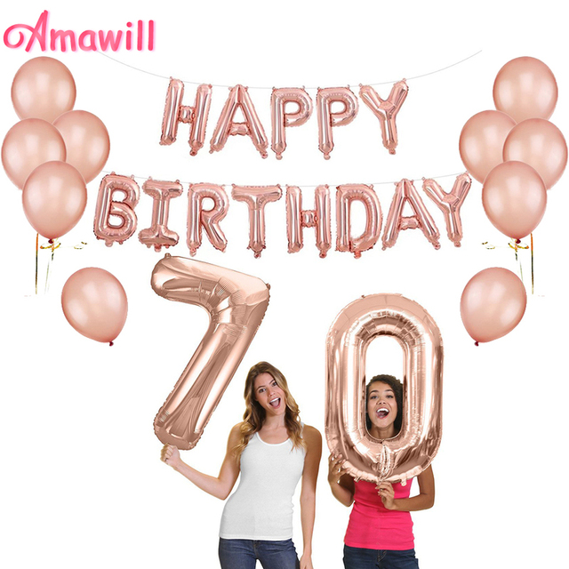 Amawill Rose Gold Happy 70th Birthday Decorations Set Foil Globos Banner 12inch Latex Balloons For 70