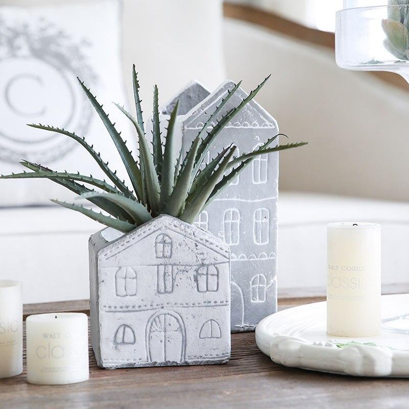 Miz 1 Piece Plant Pot Home Garden Accessories Cement Flower Pot House Shape  Container For Plants Home Decoration Ornament In Figurines U0026 Miniatures  From ...