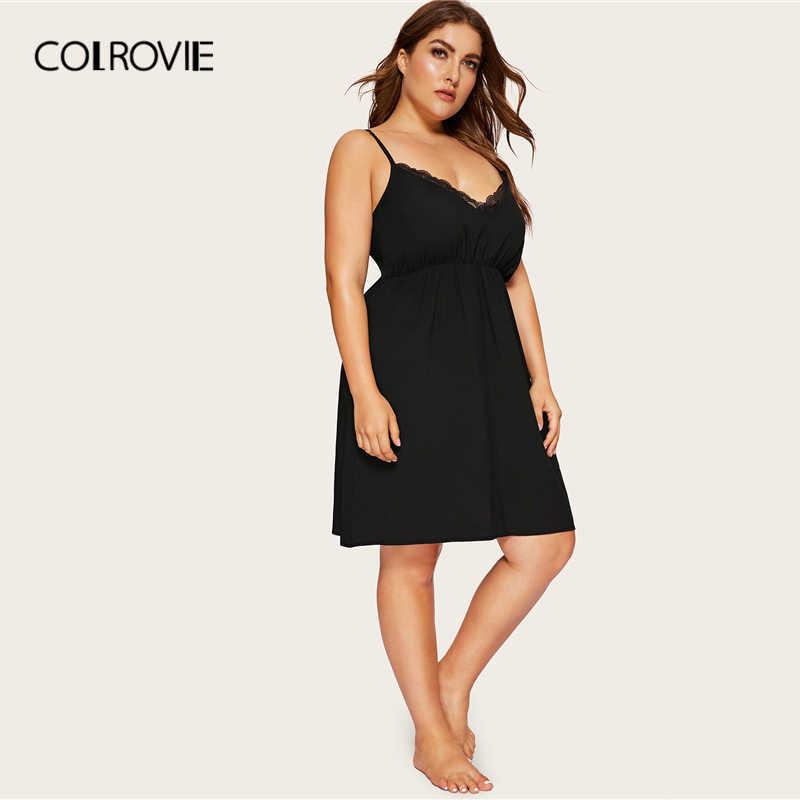 COLROVIE размера плюс Черное контрастное кружевное Ночное платье для женщин 2019 сексуальная летняя одежда для сна без рукавов Женская однотонная одежда для дома с v-образным вырезом