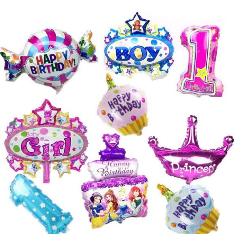 5pcs/lot Mini Balloons Kids Birthday balloons Party Cartoon Decoration Baby birthday candy princess Globas Toys Balony ...