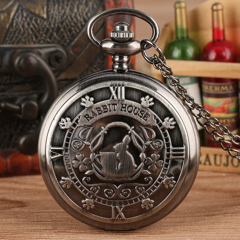 Retro Grey Alice In Wonderland Theme Rabbit House Display Quartz Pocket Watch Vintage Necklace Pendant Watch Chain Gifts Hours