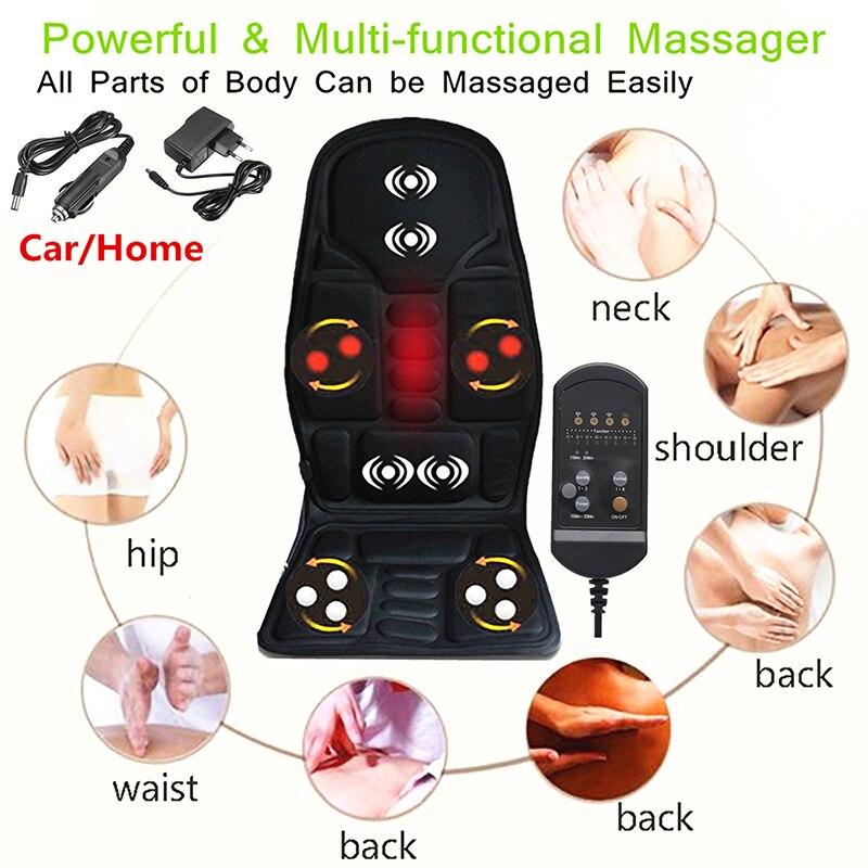 Coussin de Massage de voiture électrique multifonction chauffage du dos haute qualité en Nylon voiture Massage siège taille cou Relaxation outils de Massage