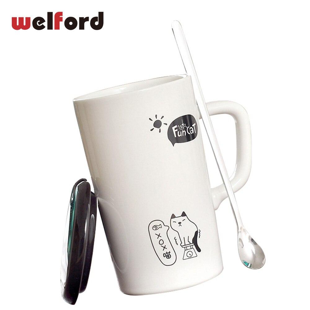 black and white Cute cat ceramic coffee mug cup creative Christmas gift milk tea mug with lid spoon cartoon drinkware