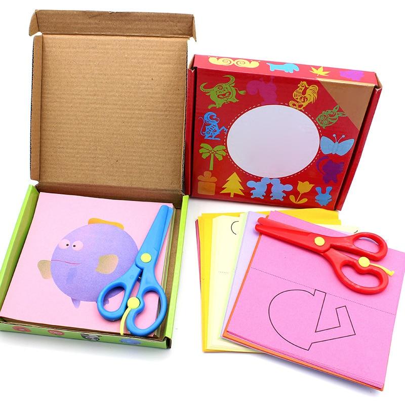 1 Set Kids Cartoon Color Paper Folding And Cutting Toys/children Kingergarden Art Craft DIY Educational Toys Random Color Type