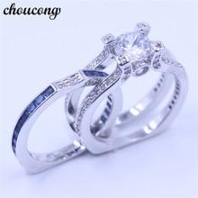 Choucong Роскошные женщины ювелирные изделия 5A Голубой Циркон CZ Кольцо стерлингового серебра 925 женщин Камень Обручальное кольцо Sz 5 -11