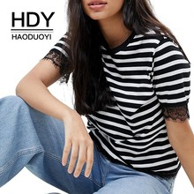 HDY Haoduoyi Femme Summer Simple Stylish Casual Tops Sexy Lace Stitching Striped Short Sleeves Girls Round Collar Shirts
