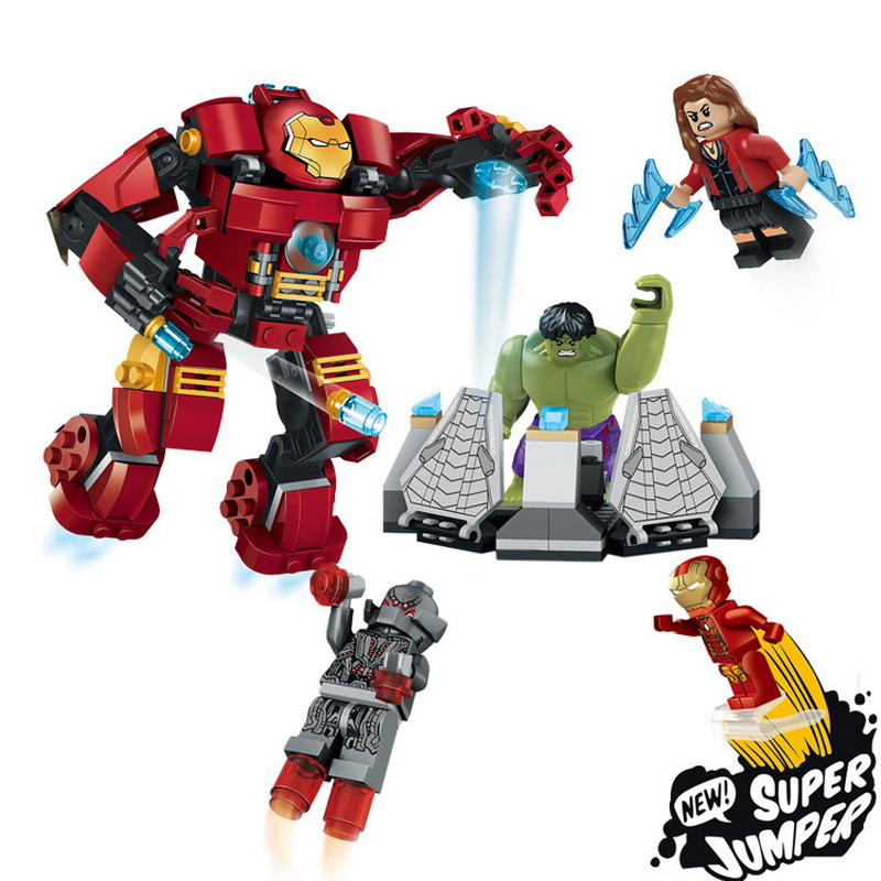 79081 Super Hero Anti Hulk Fight Robot Model Building Blocks Enlighten Figure Toys For Children Compatible Legoe