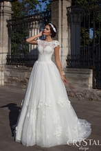 White Princess Dress Custom Made Long Train Ball Gown Tulle Wedding Dresses Dotted Flowers for Garden