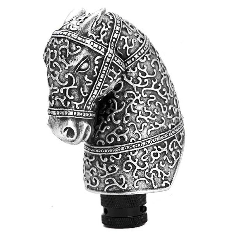 Universalus aukštos kokybės dervos sidabras, kietas, antikvarinis arklio galvutės formos automobilis, rankinis pavarų perjungimo rankenėlės svirtis.