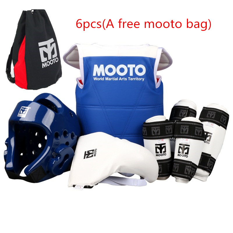 Mooto taekwondo protectors full set child adult Helmet Chest head protector Armguards Shank protector Crotch Protective guard taekwondo protective gear set wtf hand chest protector foot shin arm groin guard helmet 8pcs children adult taekwondo karate set
